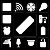 Set of Remote, Unlock, Security camera, Voice control, Panel, Ba vector illustration