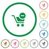 Remove from cart outlined flat icons. Set of Remove from cart color round outlined flat icons on white background Stock Photo
