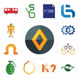 Set of renault, crocs, k9, crest, grenade, durga, omega, devops, mascot icons. Set Of 13 simple  icons such as renault, crocs, k9, crest, grenade, durga, omega Royalty Free Stock Photography