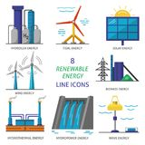 Set of renewable energy flat style icons. Collection of renewable energy colored icons. Different types of ecological electricity sources in flat style symbols royalty free illustration