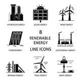 Set of renewable energy silhouette icons Stock Photography