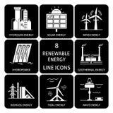 Set of renewable energy silhouette icons Royalty Free Stock Photo