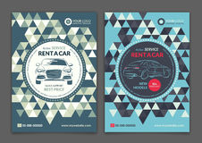 Set A5, A4 rent a car business flyer template. Auto service Brochure templates, automobile magazine cover. Royalty Free Stock Photos