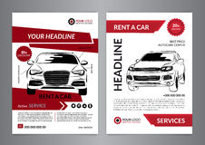 Set A4 rent a car business flyer template. Auto service Brochure templates, automobile magazine cover, mockup flyer. Vector illustration royalty free illustration