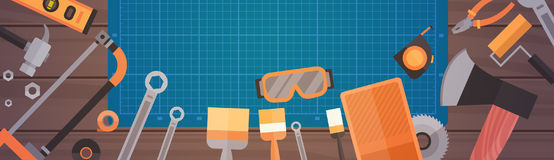 Set Of Repair And Construction Working Hand Tools, Equipment Collection Over Copy Space. Flat Vector Illustration royalty free illustration