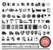 Set of repair icons in black color Stock Photos