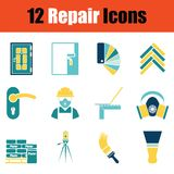 Set of repair icons. Stencil in Blue and yellow tone design. Vector illustration vector illustration