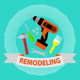 Set of repair tools on blue background.  Logo home repair service. Stock Image