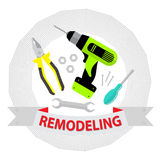 Set of repair tools on white background.  Logo home repair service. Royalty Free Stock Photography
