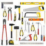 Set of  repair and woodwoork tools on a white background Stock Image