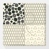 Set of repeating and seamless patterns on a gift box. Mock up vector variation. Modern stylish geometric texture of monochrome stock illustration