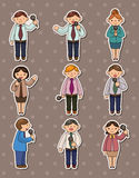 Set of reporter people stickers Stock Images