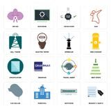 Set of request a quote, buffering, car dealer, travel agent, specification, sprinkler, cell tower, order form, orchid icons. Set Of 16 simple editable icons such Royalty Free Stock Photo