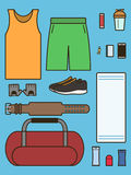 Set of required accessories in gym. Stock Photography