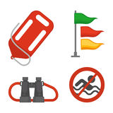 Set of rescue items. Vector illustration of savior items and no swimming sign isolated on white Royalty Free Stock Photo