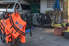 Set of rescue tool. Set of the equipment of rescue in Chonburi province Thailand Stock Photos