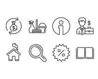Research, Businessman case and Discount icons. Household service, Money exchange and Book signs. Set of Research, Businessman case and Discount icons. Household Stock Photo