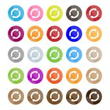 Set of 16 Reset Icons or Refresh Buttons Stock Photo