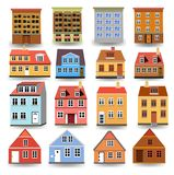 Set of residential buildings and houses isolated on a white background. Set of different residential buildings and houses isolated on a white background Stock Photo