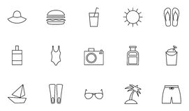 Set of 15 resort and vacations outline icons Royalty Free Stock Photography