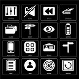 Set of Restart, Radar, Note, Id card, Smartphone, View, Folder,. Set Of 16 icons such as Restart, Radar, User, Note, , Controls, Folder, Smartphone, View, web UI royalty free illustration