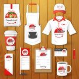 Set restauracyjna korporacyjna tożsamość, mundur, ulotka, koszula, filiżanka, menu, pakunek, fartuch, filiżanki ilustracja Fotografia Royalty Free