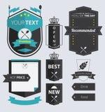 Set Restauracyjne Retro etykietki i odznaka Obraz Stock