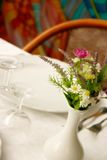 Set restaurant. Complements furnishings table, set plates and glasies restaurant Stock Image