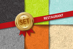 Set of restaurant backgrounds with doodle icons in Stock Photos