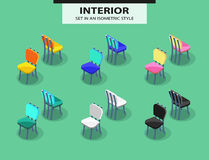 Set of restaurant chairs in isometric style Stock Photos