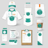 Set of restaurant corporate identity uniform, flyer, shirt Stock Images