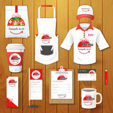 Set of restaurant corporate identity,  uniform, flyer, shirt, cup, menu, package, apron,  coffee cup  illustration Royalty Free Stock Photography