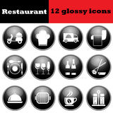 Set of restaurant glossy icons. EPS 10 vector illustration Royalty Free Stock Images