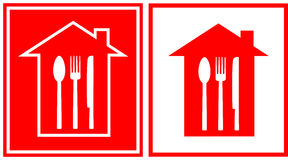 Set of restaurant icon with house and utensil Royalty Free Stock Images