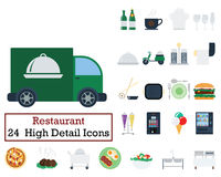 Set of 24 Restaurant icons. Flat color design. Vector illustration Royalty Free Stock Images