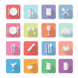 Set of  Restaurant icons in flat design Royalty Free Stock Photos