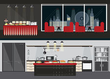 Set of Restaurant interiors. Set of Restaurant interiors, dining room and table of buffet on night city view on background and Kitchen interior,vector Royalty Free Stock Image