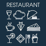Set of restaurant line icon. Royalty Free Stock Photos