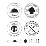 Set of restaurant logos, labels, badges and design elements Stock Images
