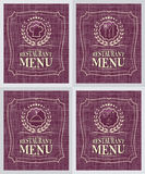 Set of restaurant menu cover design in vintage style Stock Images