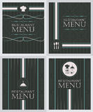 Set of restaurant menu design cover template in retro style Royalty Free Stock Photos