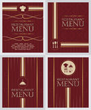 Set of restaurant menu design cover template in retro style Royalty Free Stock Photography