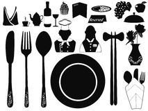 Set of restaurant object Royalty Free Stock Image