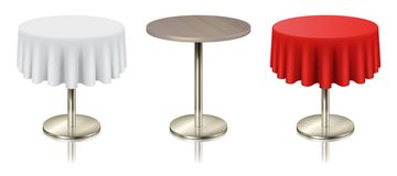 Set restaurant round tables with tablecloth and without icon isolated. Furniture for cafe or public place interior, vector illustration royalty free illustration