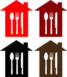 Set of restaurant sign with spoon, fork and knife Stock Photography