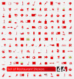 Set of restaurant stickers Stock Image