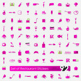 Set of restaurant stickers Stock Photography