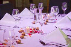Set restaurant table for special occation Royalty Free Stock Photos