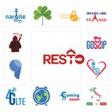 Set of resto, made in italy, coming soon, earth hour, 4g lte, orphanage, comma, gossip, grim reaper icons. Set Of 13 simple editable icons such as resto, made in Stock Image