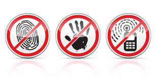 Set of restrictive signs icons. Vector illustration isolated on white background EPS10. Transparent objects used for shadows and lights drawing stock illustration